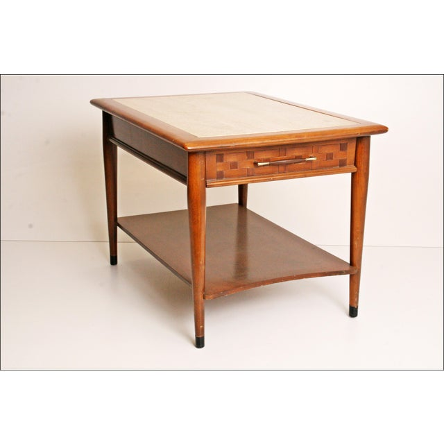Danish Modern Wood Stone Top End Tables - Pair - Image 4 of 11