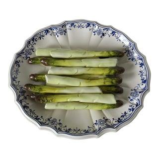 C.1960's Tromp L' Oeil Tiffany Italian Majolica Porcelain Glazed Asparagus Plate