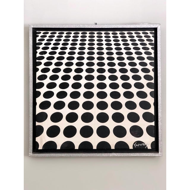 Metal Black and White Op Art Painting in the Manner of Vasarely For Sale - Image 7 of 7