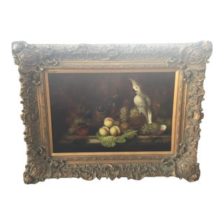 Signed Still Life by Jacob Ronsky With Cockatoo For Sale