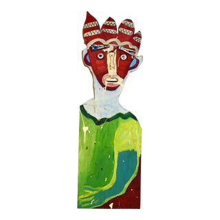 Mardi Gras Abstract Jester Outsider Painting/Collage Likely Louisiana For Sale