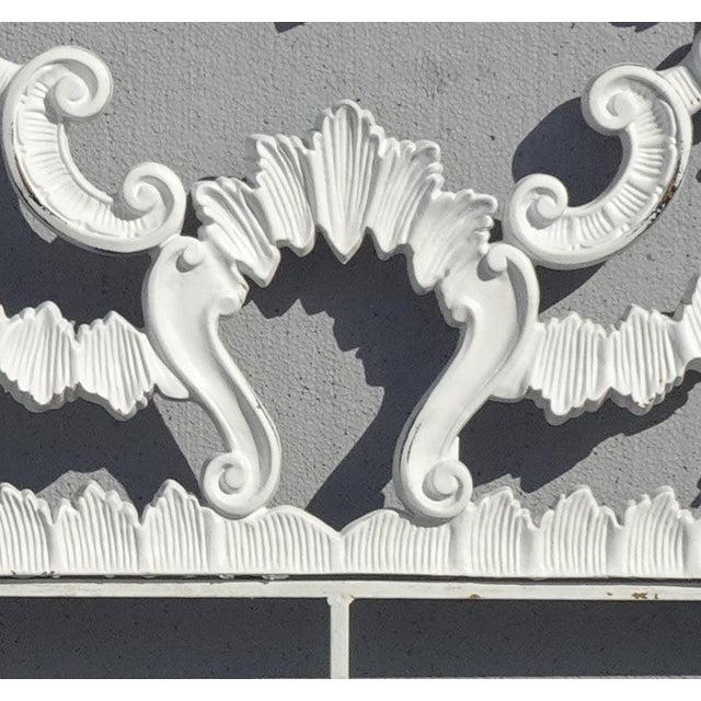 Vintage French Provincial Louis XVI Rococo White Metal King Headboard For Sale - Image 9 of 12