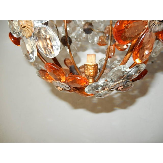 Clear and Peach Crystal Flowers Maison Baguès Style Chandelier For Sale - Image 4 of 8