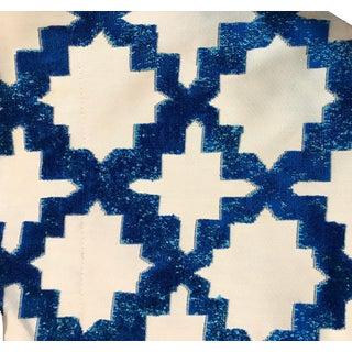 Beacon Hill Robert Allen Mosaic Cut Velvet Indigo Fabric For Sale