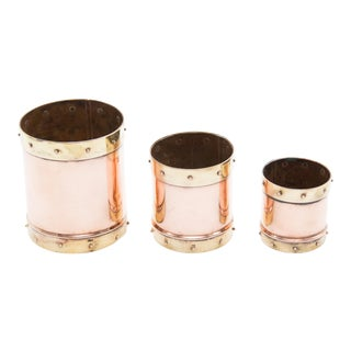 Antiue English Copper & Brass Graduated Planters - Set of 3 For Sale