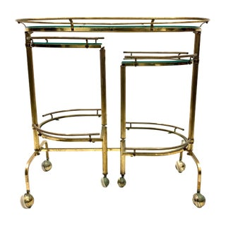 20th Century Hollywood Regency Solid Brass 3-Tiered Swivel Bar Cart For Sale