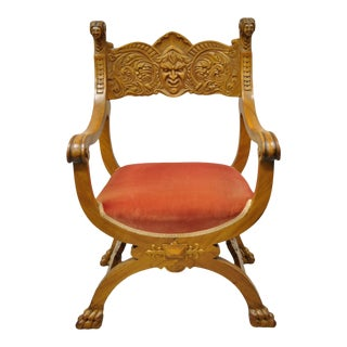 Antique Italian Renaissance Figural Carved Mahogany & Velvet Curule Throne Chair For Sale