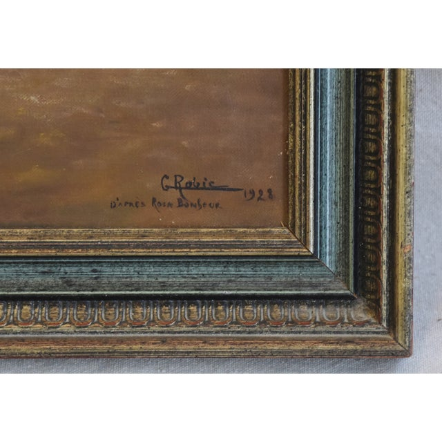 Circa 1928 Marché Aux Chevaux/Bonhuer by G. Robie Oil Painting For Sale In Los Angeles - Image 6 of 12
