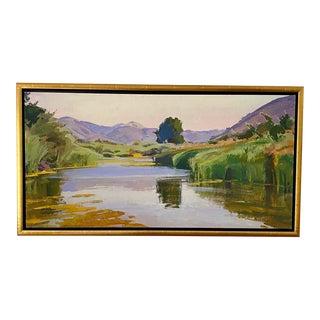 Summer Pond Plein Air Landscape Fine Art Canvas Giclée, Framed For Sale
