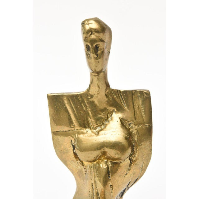 1970s Abstract Signed and Numbered Brass Sculpture of a Seated Woman For Sale - Image 5 of 11