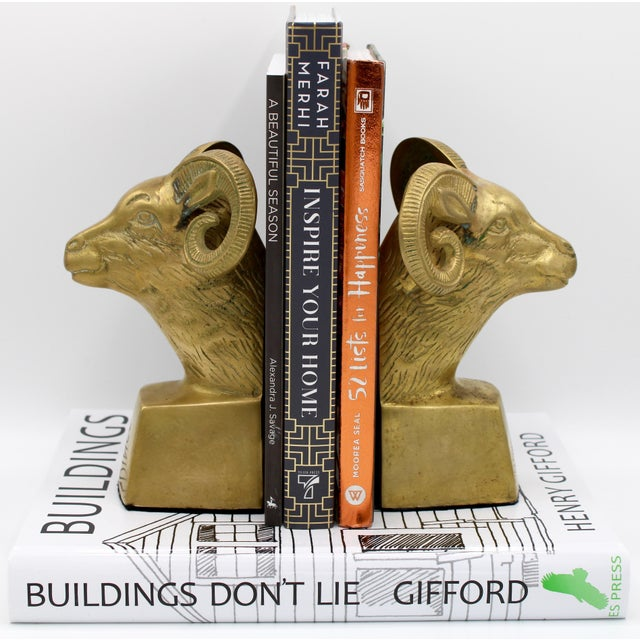 Metal Hollywood Regency Brass Ram Head Bookends - a Pair For Sale - Image 7 of 9