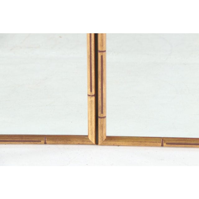 Late 20th Century Large Giltwood Faux Bamboo Wall Mirrors - a Pair For Sale - Image 5 of 8