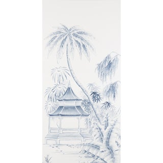 Jardins en Fleur Blue & White Pagoda Garden Triptych Paintings on Silk - Set of 3 Preview