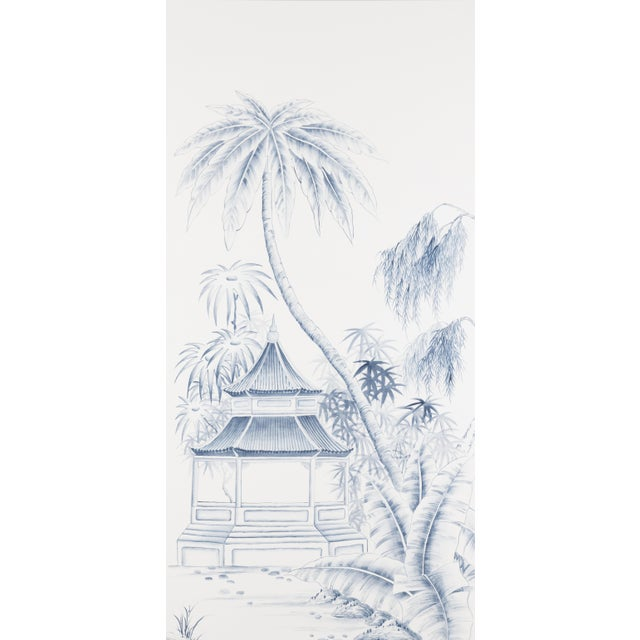 Hand-painted on palest ivory silk, this triptych (three) Chinoiserie panels feature pagodas and pavilions nestled in a...