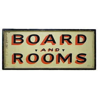 Vintage Sign 'Board and Rooms' For Sale