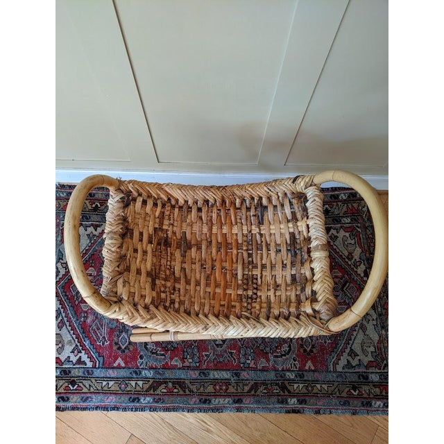 Vintage Bamboo Bench Footstool For Sale - Image 6 of 11
