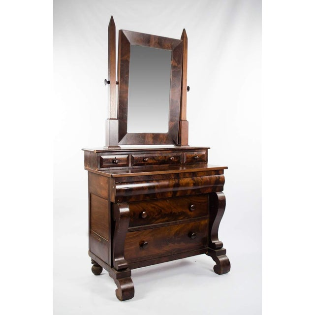This stately 19th c. American Empire mahogany burlwood vanity dresser will tie your bedroom furniture together with...