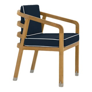 Linley Dining Arm Chair in Sundeck Blue with Nice White Welt For Sale