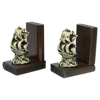 Antique English Brass Ship Bookends For Sale
