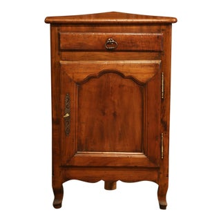 19th Century French Louis XV Carved Walnut Corner Cabinet With Drawer