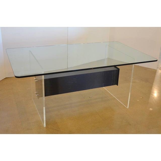 Lucite, Glass and Steel Dining Table or Desk For Sale - Image 10 of 11