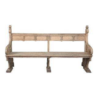 19th Century Gothic Stripped Oak Church Pew For Sale