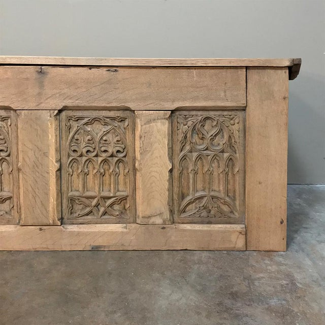 Trunk, 19th Century Rustic Gothic in Stripped Oak For Sale - Image 9 of 12