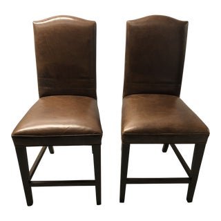 Modern Restoration Hardware Leather Barstools- a Pair For Sale