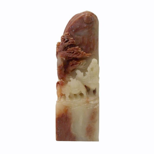 This is a handmade Chinese accent decorative soap stone carved small figure of seal stamp with relief man camels motif....