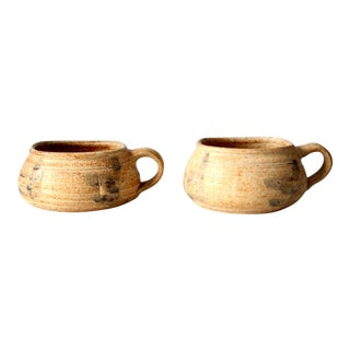 Vintage Studio Pottery Mugs, Signed - a Pair For Sale