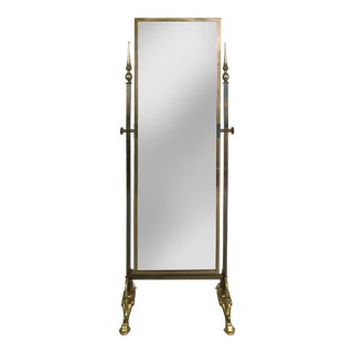 Solid Brass Cheval Mirror by Glo-Mar Artworks Inc. New York