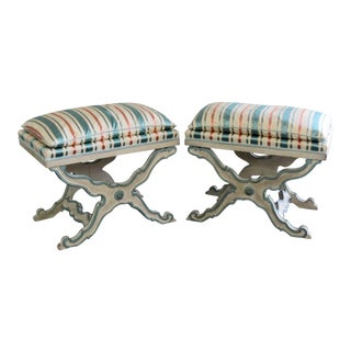 Pair of Swedish Paint Decorated X Benches For Sale