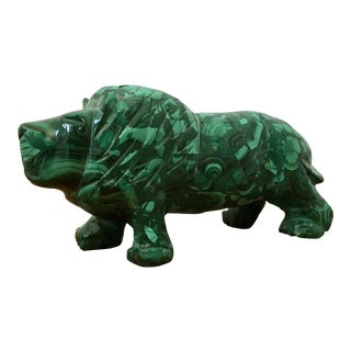 Malachite Lion Figurine For Sale