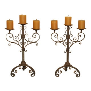 Early 1900s Antique Italian Wrought Iron Candelabras - a Pair For Sale