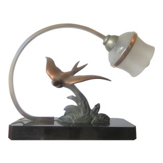 Marble with Bronze Bird Motif French 1930 Art Deco Lamp For Sale