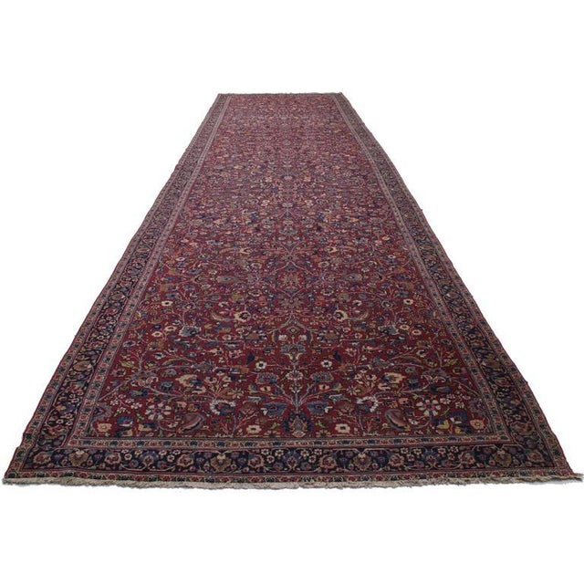Edwardian Antique Persian Mashad Extra Long Hallway Runner- 5'7 X 22'00 For Sale - Image 3 of 9