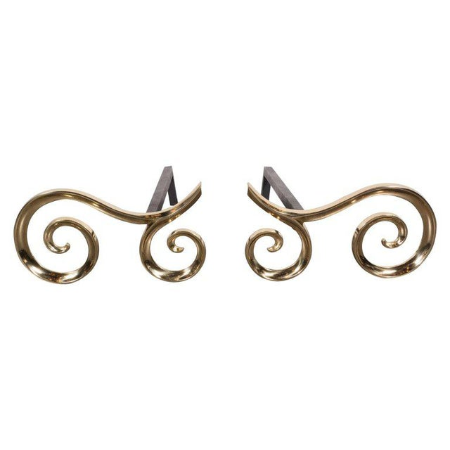 Modern Brass and Black Iron Scroll Form Andirons For Sale - Image 9 of 9