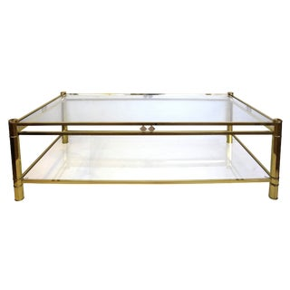 A French NeoGothic-Inspired Rectangular Brass Coffee Table with Lower Shelf For Sale