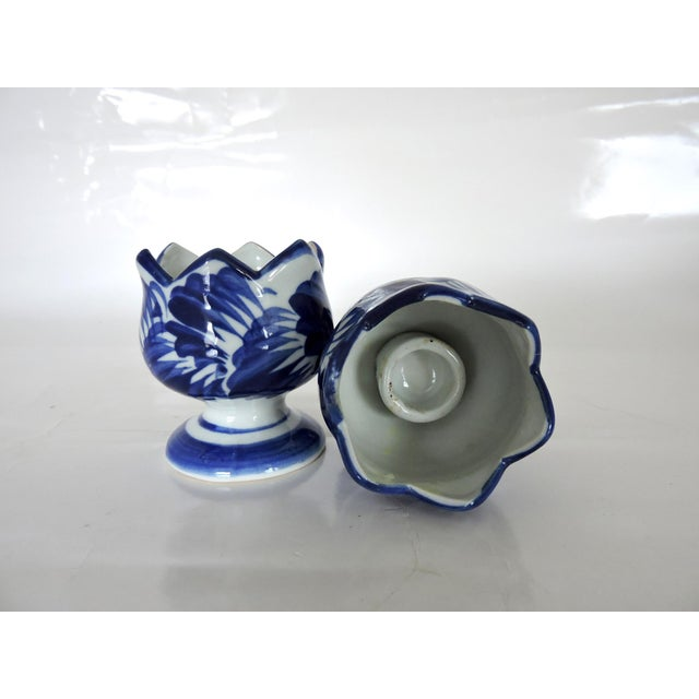 Asian Blue & White Asian Pottery Candle Holders - A Pair For Sale - Image 3 of 6