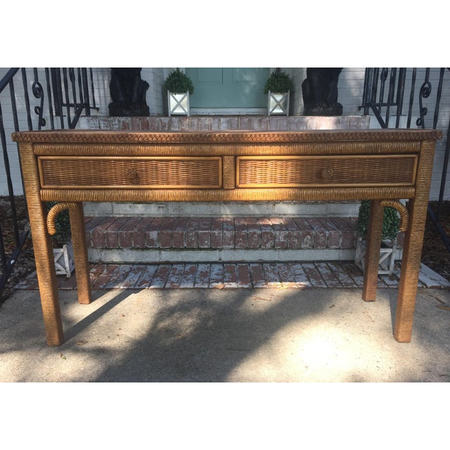 vintage henry link wrapped wicker console table and ottoman pair chairish. Black Bedroom Furniture Sets. Home Design Ideas