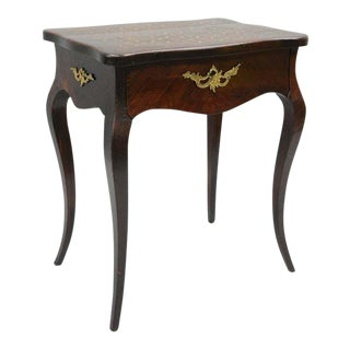 Late 19th Century French Louis XV Napoleon III Rosewood Brass Inlay Vanity Work Table Sewing Stand For Sale