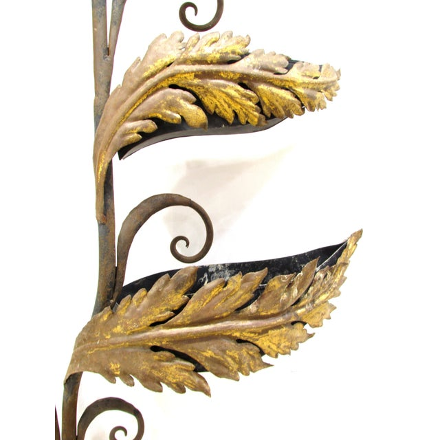 Wrought Iron and Gilt Garden Wall Hanging For Sale In Greensboro - Image 6 of 11