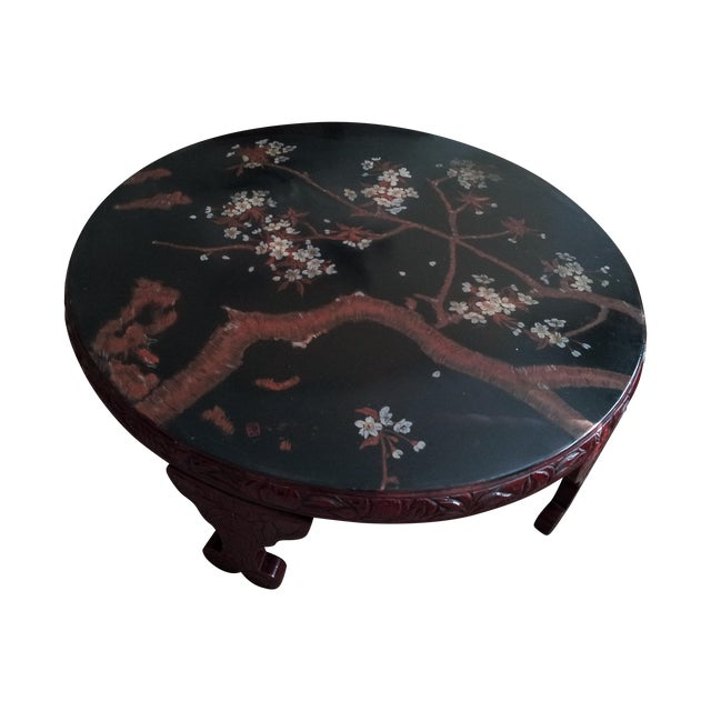 Vintage Red Lacquer Coffee Table For Sale