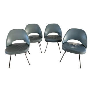 Vintage Eero Saarinen for Knoll Leather Executive Side Chairs - Set of 4 For Sale