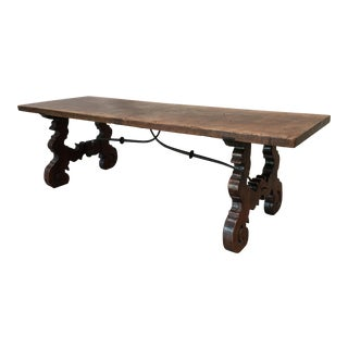 Late 19th Century Italian Oak Coffee Table With Iron Stretcher