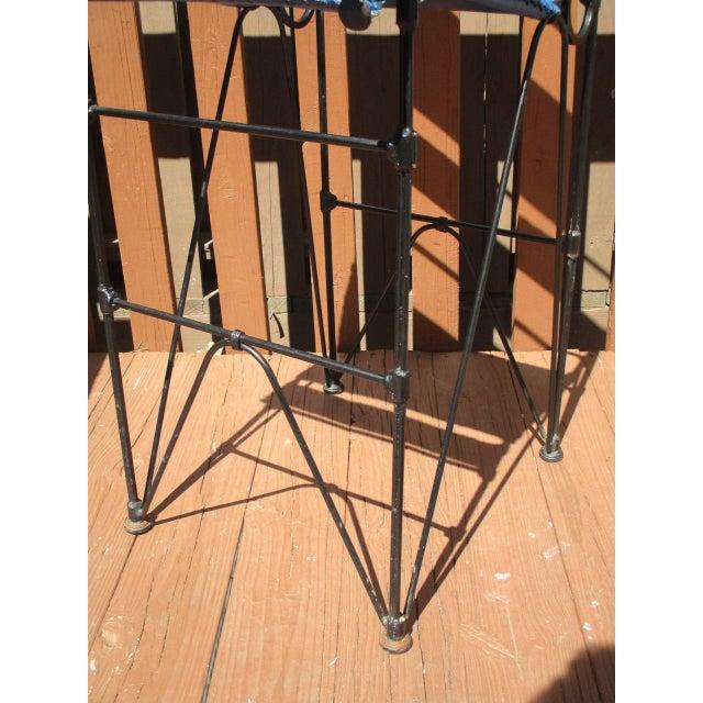 Illana Goor Leather Wrought Iron Bar Stools - Pair - Image 11 of 11