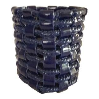 """Vintage Primo""""gi Open Weave Ceramic Basket For Sale"""