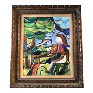 Original Modernist Figure in Landscape Painting Framed For Sale