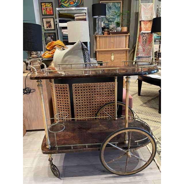 1950s Aldo Tura Goatskin and Brass Bar Cart For Sale - Image 11 of 11
