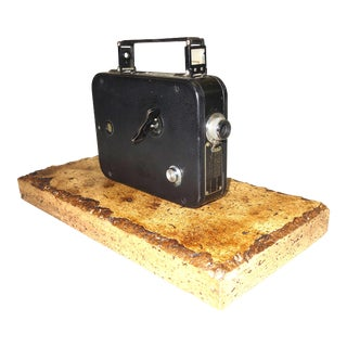 Cine Kodak 8 Movie Camera Circa 1932. Historic Camera on Travertine Base. For Sale
